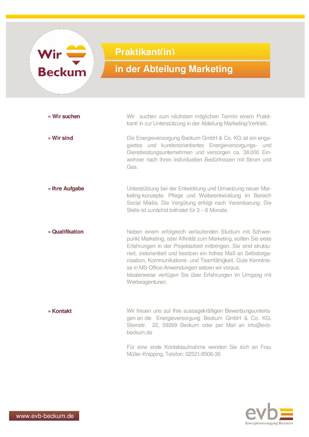Praktikant in der Abteilung Marketing gesucht